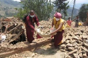 The monks join in with the work that needs to be done.