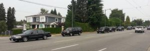 The VP motorcade closes down a major street as Biden leaves Vancouver.